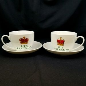NWT - HIS LORDSHIP / HER LADYSHIP CUP & SAUCER SET